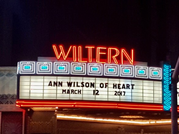 Concert Marquee. Ann Wilson of Heart @ The Wiltern 3/12/17.