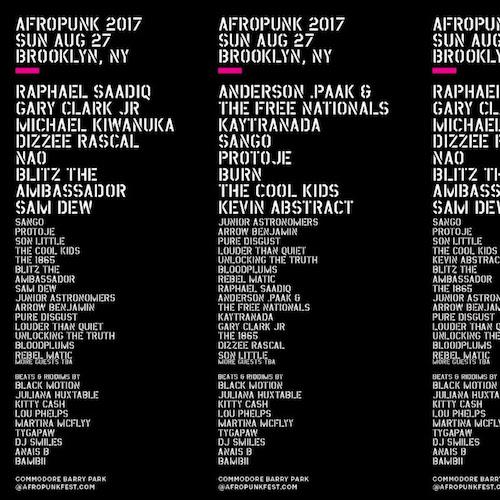 Afropunk 8/27/17 Lineup