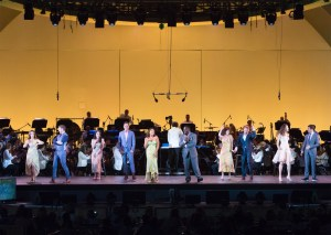 "Lewis Cleale, Solea Pfeiffer, Phillip Boykin, Ruthjie Ann Miles, Jonathan Groff, Vanessa Williams, Jesse Tyler Ferguson, Sarah Berry, Carmen Cusack, Clay Elder, Gustavo Dudamel at ""Sondheim on Sondheim"" @ The Hollywood Bowl 7/23/17. Photos by Craig T. Mathew and Greg Grudt/Mathew Imaging. Used with permission."