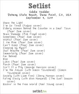 Eddie Vedder @ The Ohana Fest 9/9/17. Setlist.