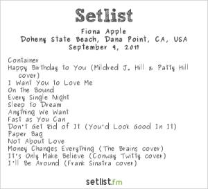 Fiona Apple @ The Ohana Fest 9/9/17. Setlist.