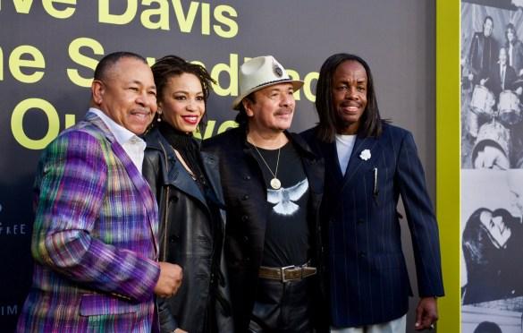 Ralph Johnson (Earth Wind & Fire), Cindy Blackmon, Carlos Santana & Verdine White (Earth, Wind & Fire) on the Red Carpet for