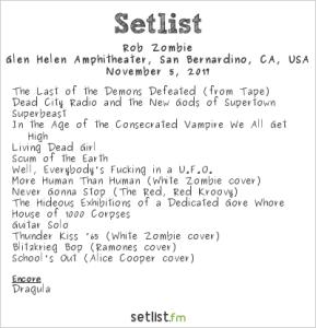 Rob Zombie @ Ozzfest Meets Knotfest 11/5/17. Setlist.