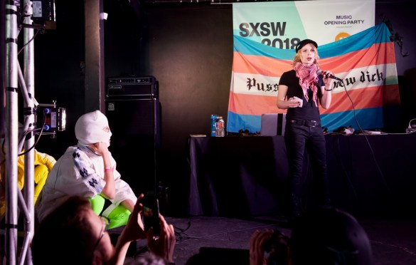 Chelsea Manning speaking prior to Pussy Riot @ The Main during SXSW 3/13/18. Photo by Derrick K. Lee, Esq. (@Methodman13) for www.BlurredCulture.com.