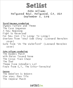 """""""Maestro of the Movies"""" @ Hollywood Bowl featuring John Williams, Cond. & David Newman, Cond. w/ L.A. Phil 9/2/18. Setlist."""