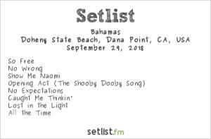 Bahamas @ The Ohana Fest 9/29/18. Setlist.