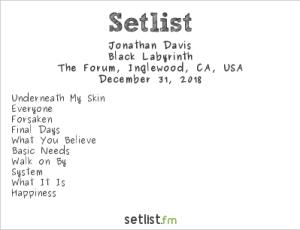 Jonathan Davis at OZZFEST 2018 @ The Forum 12/31/18. Setlist.