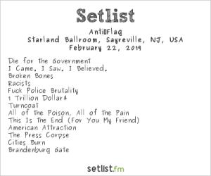 Anti-Flag @ Starland Ballroom 2/22/19. Setlist.