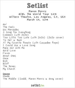 Maren Morris @ The Wiltern Hollywood 3/29/19. Setlist.
