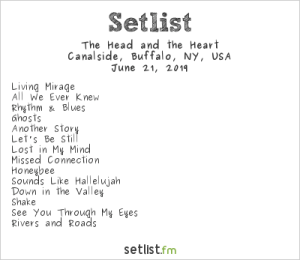 The Head and The Heart for Alternative Buffalo's KERFUFFLE @ Canalside Buffalo 6/21/19. Setlist.
