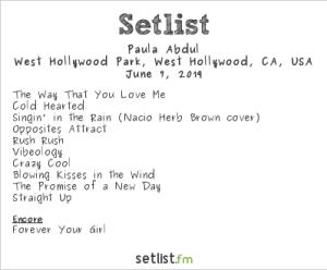 Paula Abdul @ LA! Pride 6/7/19. Setlist.