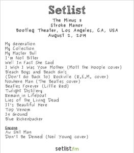 The Minus 5 @ Bootleg Theater 8/2/19. Setlist.