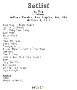 K.Flay @ The Wiltern 10/9/19. Setlist.