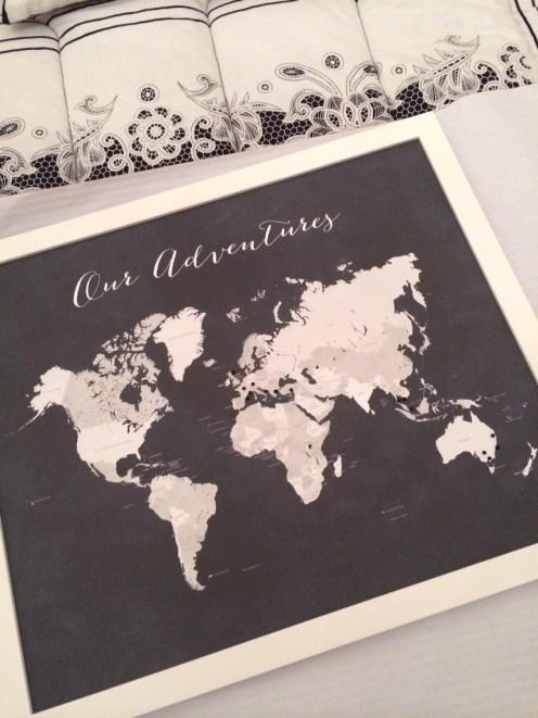 Our adventures world map. Image courtesy of Eleni.