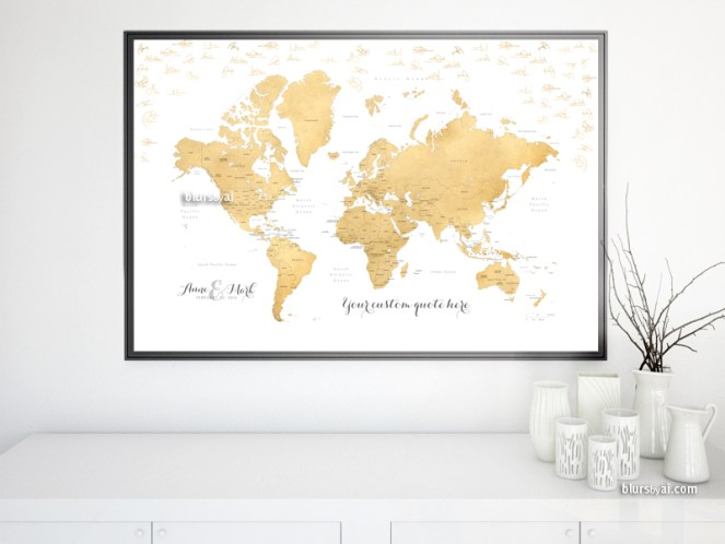 Wedding guestbook alternative Custom printable world map