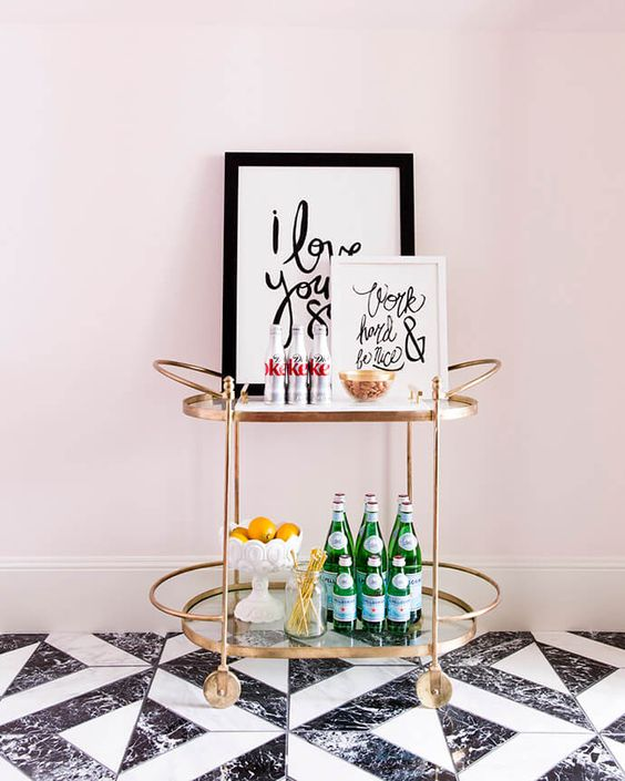 Rachel Parcell's Office Bar Cart
