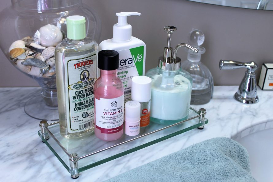 morning-skincare-routine-affordable-cerave-thebodyshop-thayers