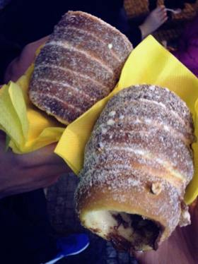Tasting some delicious Trdelnik with Nutella