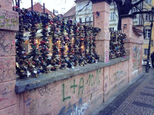 The love locks near the John Lennon Wall