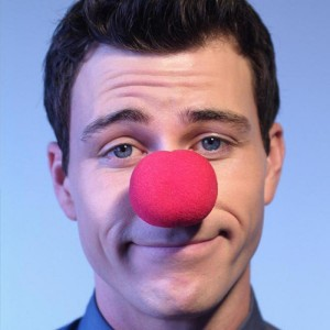 To help give you a very vivid image of what transpired, here is a picture of an internet man wearing a similar red ball/clown nose.