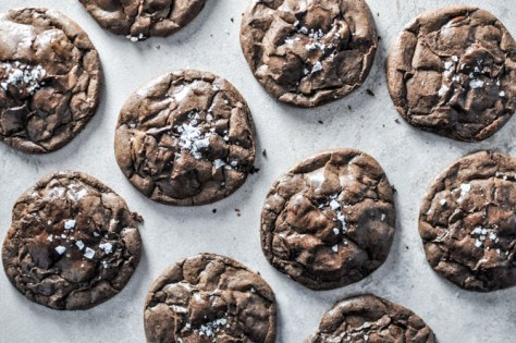 Salted Dark Chocolate Truffle Cookies from How Sweet it is howsweeteats.com