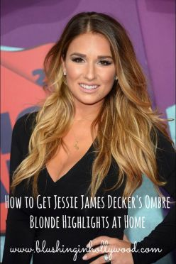 Jessie James Decker's hair color is absolutely stunning! The even more amazing thing is that she did it at home! Find out how to get these honey dipped ombre highlights at home just like Jessie!