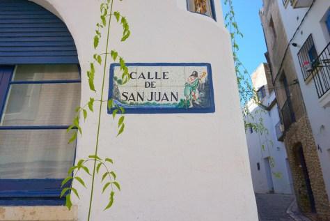 Calle de San Juan street sign in Sitges Spain