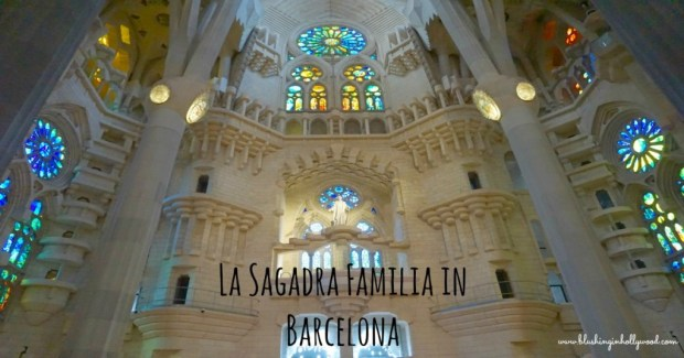 The inside of La Sagadra Familia in Barcelona Spain