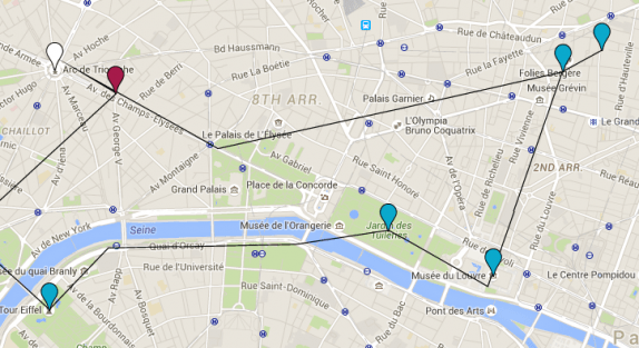 The red dot is the Champs Elysees. The blue dots are the places I've already been and the white is where I went after.