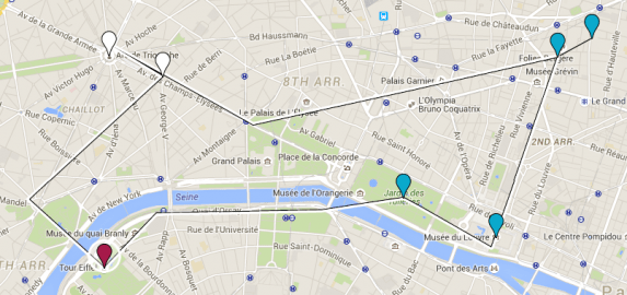 The red dot is the Eiffel Tower. The blue dots are the places I've already been and the white is where I went after.