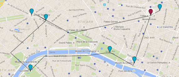 The red dot is the Hotel Maxim Folies where we started and ended that day's walking adventure.
