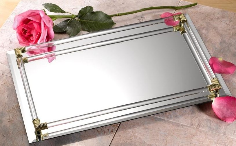 Mirrored Vanity Tray/Mirrored Perfume Tray with Crystal Border from Amazon