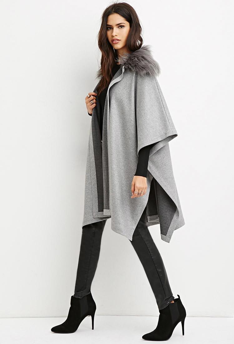 Forever21-faux-fur-grey-poncho