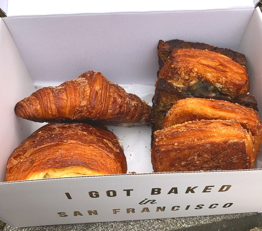 """Assorted croissants and pastries from Mr. Holmes' Bakeshop in San Francisco with the """"I got baked in San Francisco"""" box. SO GOOD."""
