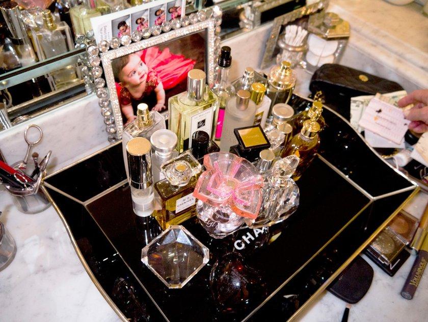 Kyle Richards perfume tray in Parade