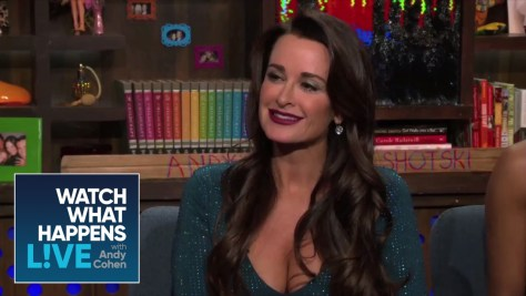 Kyle Richards on WWHL wearing MAC Fashion Revival Lipstick