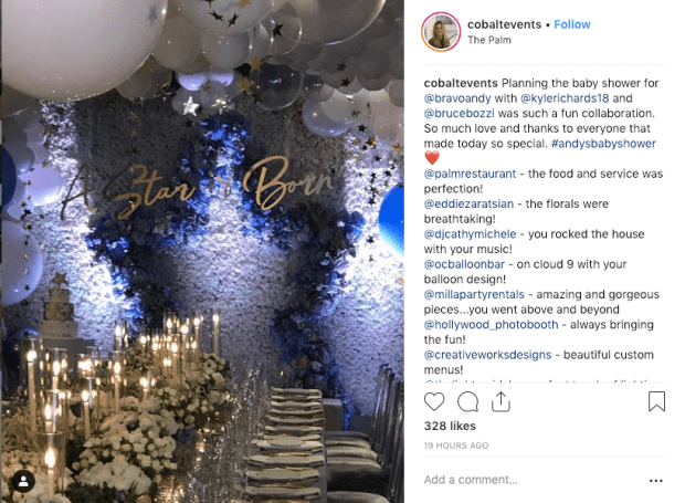 Andy Cohen's A Star is Born themed baby shower by Cobalt Events