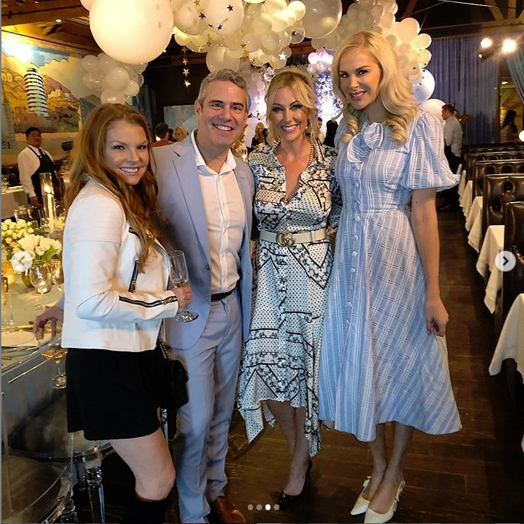 Brandi Redmond, Andy Cohen, Stephanie Hollman, and Kameron Westscott of Real Housewives of Dallas at Andy Cohen's baby shower