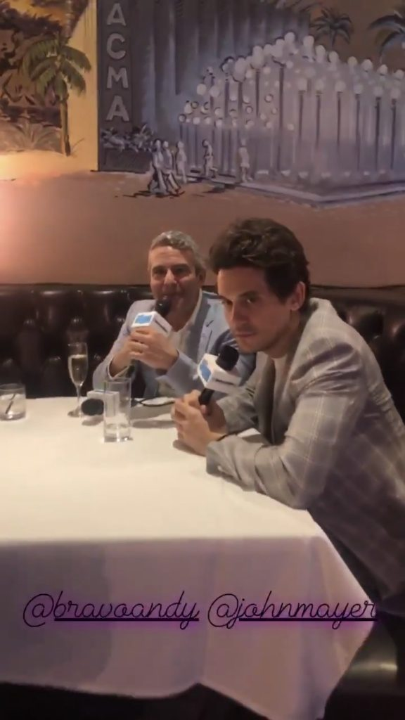 John Mayer contemplating how exactly he ended up at Andy Cohen's baby shower at The Palm