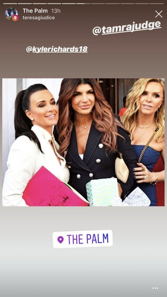 Kyle Richards, Teresa Giudice, and Tamra Judge at The Palm in Beverly Hills for Andy Cohen's baby shower