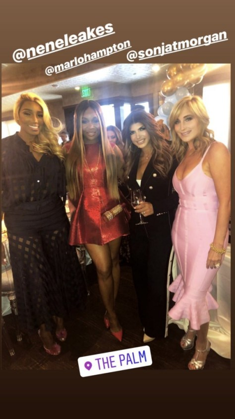 NeNe Leakes, Marlo Hampton, Teresa Giudice, and Sonja Morgan at The Palm in Beverly Hills for Andy Cohen's Baby Shower
