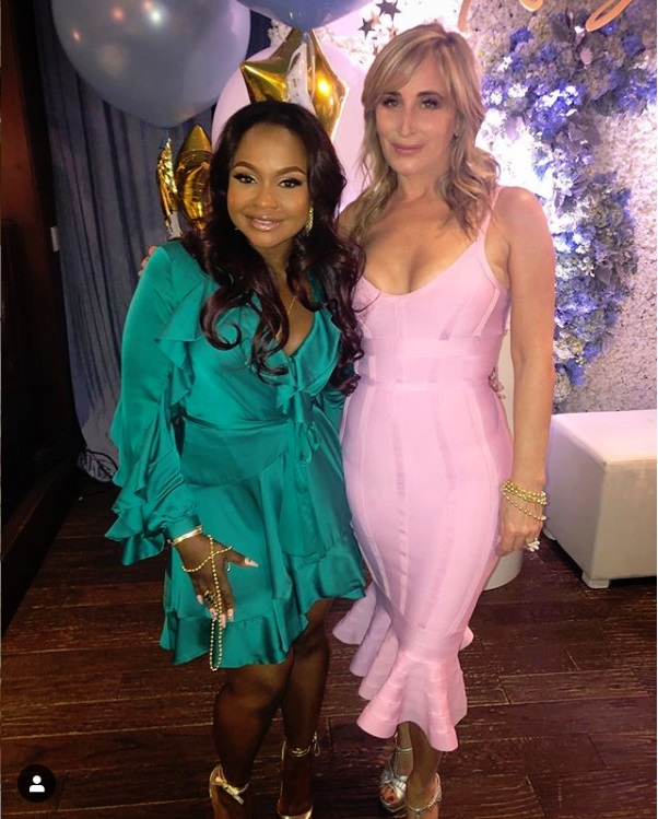 Phaedra Parks and Sonja Morgan at Andy Cohen's baby shower at The Palm in Beverly Hills