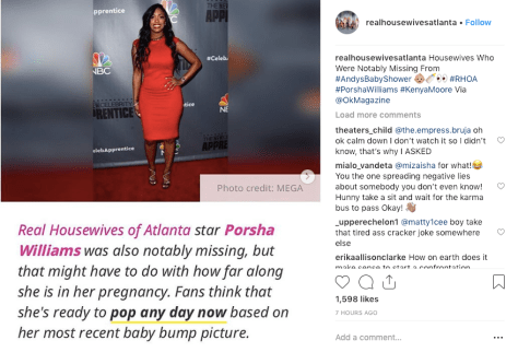 Porsha Williams is too pregnant to go to Andy Cohen's baby shower