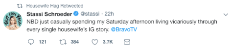 Stassi Schroeder tweet about watching Andy Cohens baby shower on IG stories