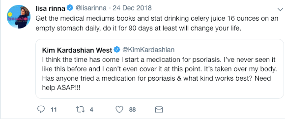 Lisa Rinna told Kim Kardashian West to try celery juice to treat her psoriasis