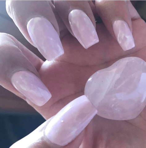 Rose quartz pink crystal nail design and nail art