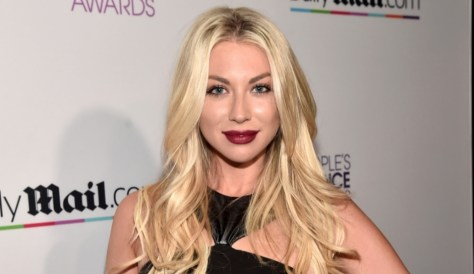 Stassi in a bold deep red lip