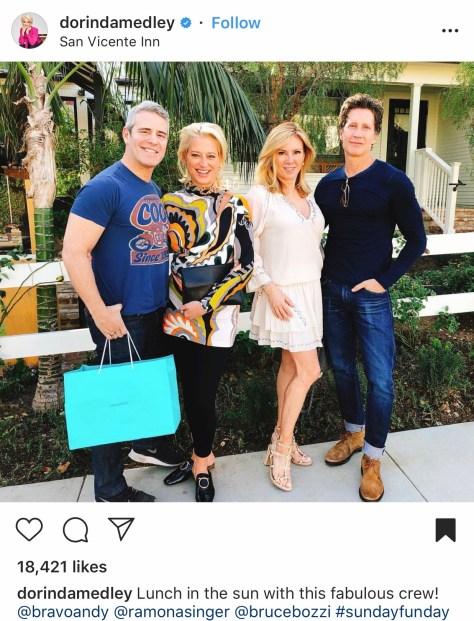 Andy Cohen, Dorinda Medley, Ramona Singer, and Bruce Bozzi at the San Vicente Inn