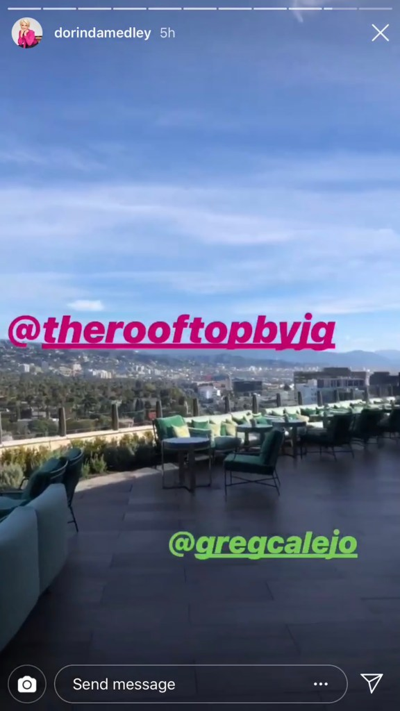 Dorinda Medley enjoying the view on the top of the Waldorf Astoria Hotel in Beverly Hills