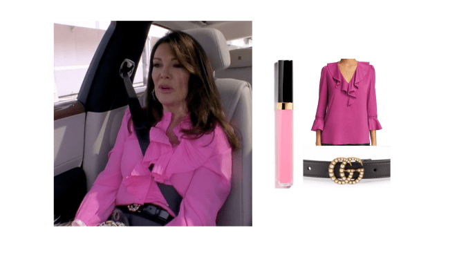 Lisa Vanderpump's Pink Ruffle Top, Gucci Belt, and Pink Lip Gloss